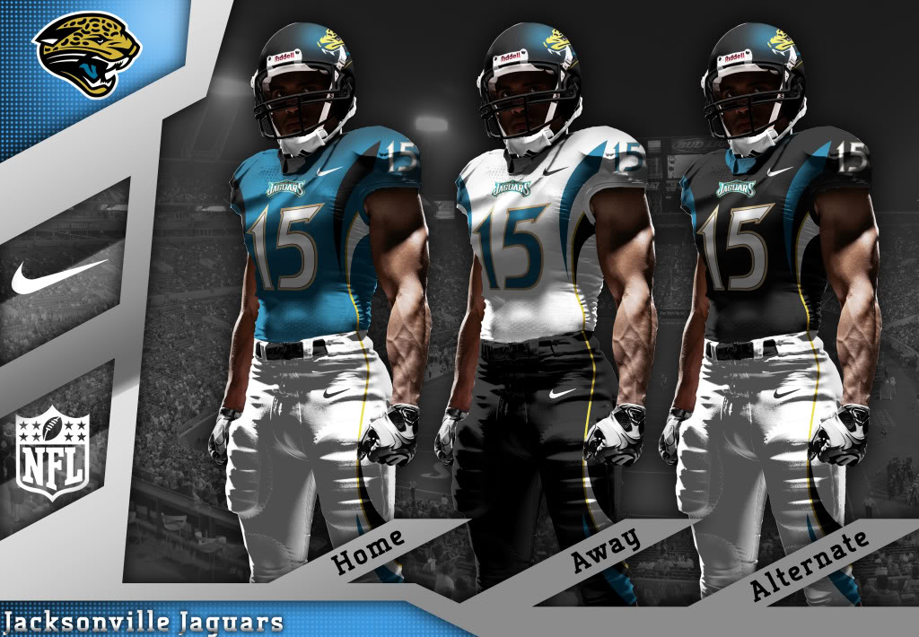 ab131ef2d ... Jacksonville Jaguars and Jacksonville Jaguars Unveil New Uniform and  Helmet Bleacher Jags-new-unismedium The Jags ...