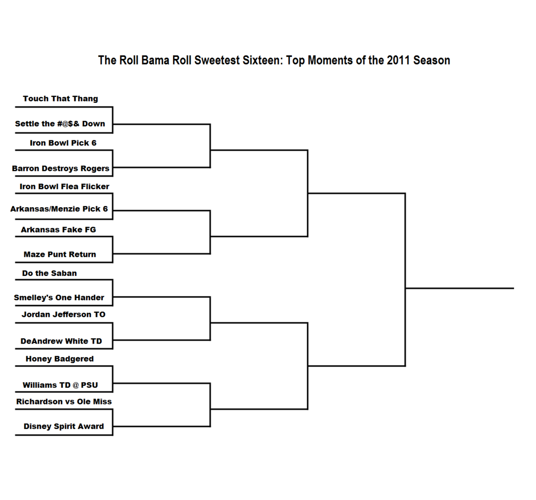 3 Team Bracket http://www.rollbamaroll.com/2012/4/3/2921568/the-roll-bama-roll-sweetest-sixteen-best-moments-of-the-2011-season