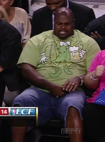 Vince Wilfork Is Taking In Game 6, Wearing Jorts - SBNation.com