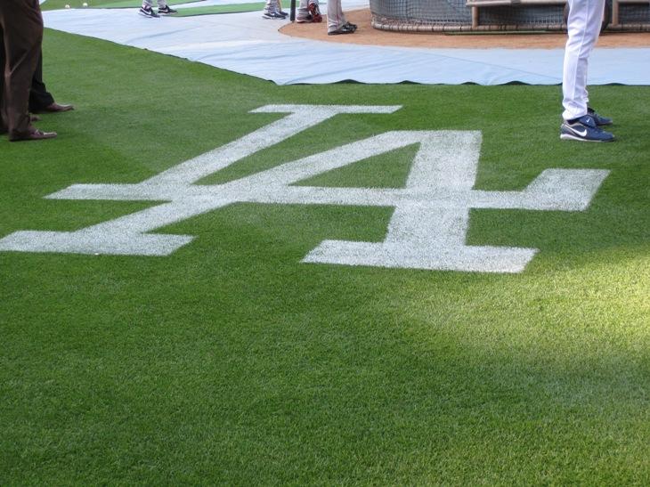 los angeles dodgers logo. Dodger logo on the field.
