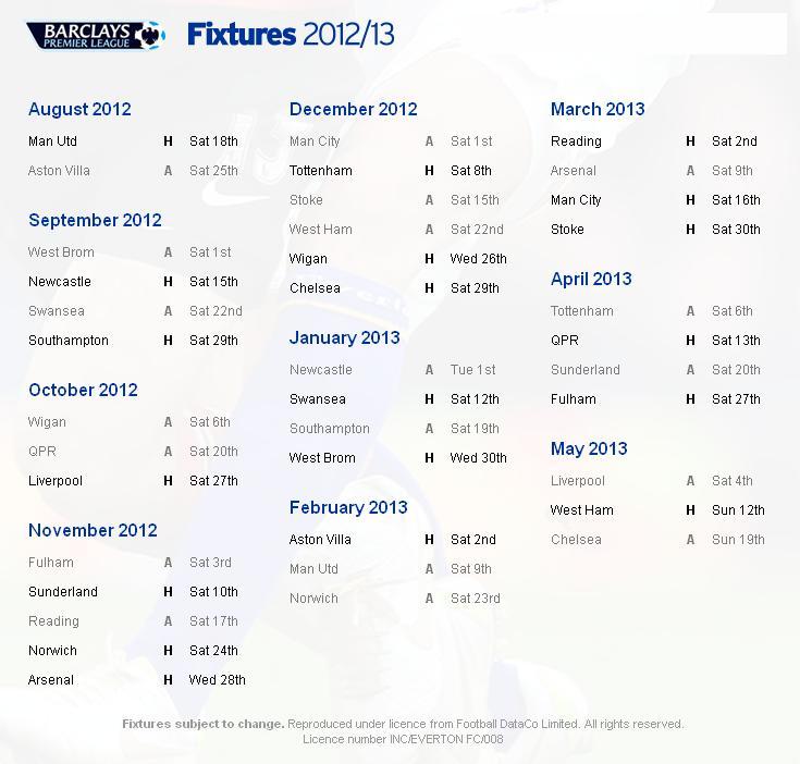 Everton epl fixtures irish premier league fixtures