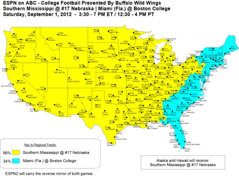 Nebraska vs Southern Mississippi ABC/ESPN Coverage Map ...