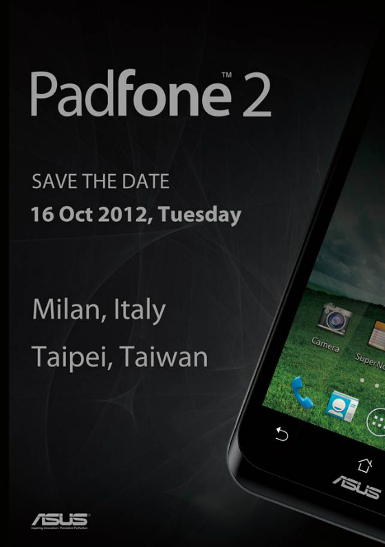Asus PadFone 2 to debut October 16th in simultaneous ...