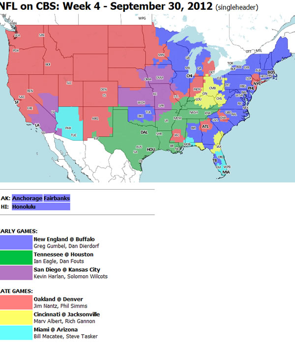Television Coverage Map For NFL Week Four Game Between The Bengals ...