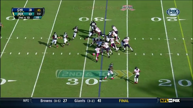 Charles Tillman blocked by Eugene Monroe
