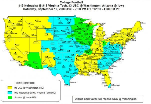Abc Espn Coverage Map 2009 Virginia Tech Hokies Vs Nebraska