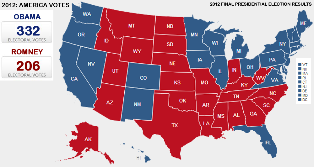 Presidential Election Results Information And Live Updates - 2012 us presidential election map
