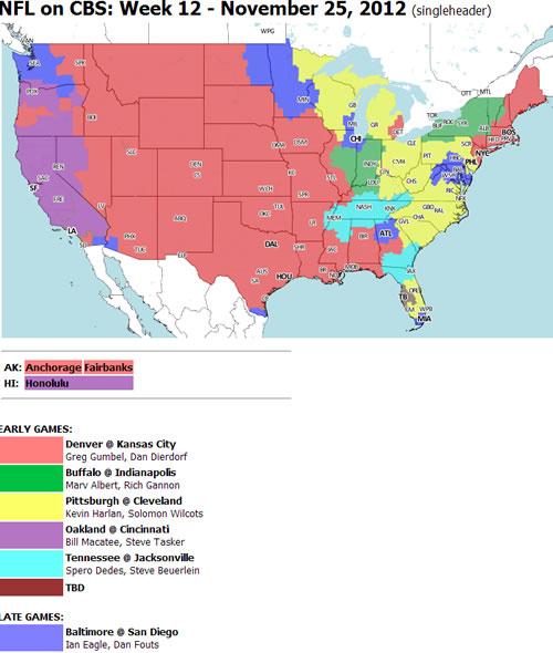 Oakland Raiders At Cincinnati Bengals Coverage Map And Games In - Cincinnati on us map
