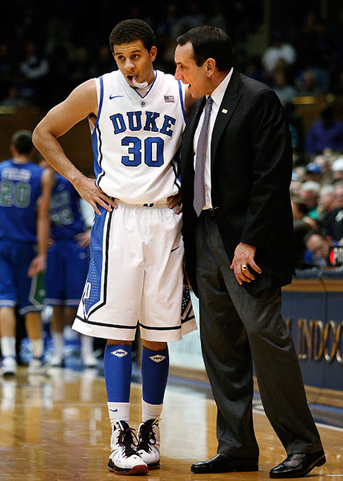 Seth Curry and Coach K.