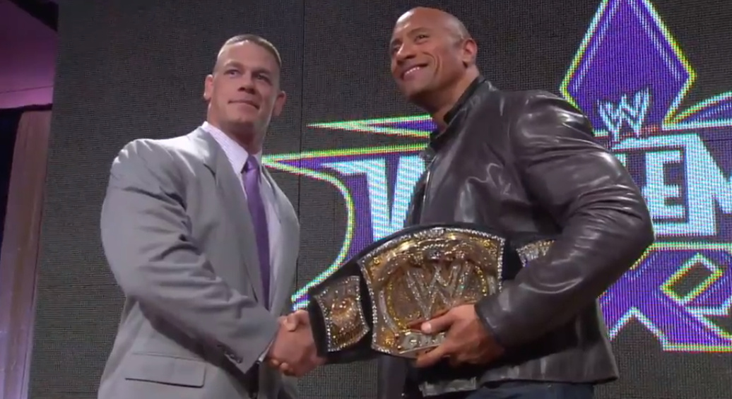The Rock vs. John Cena official for WrestleMania 29 main event in New