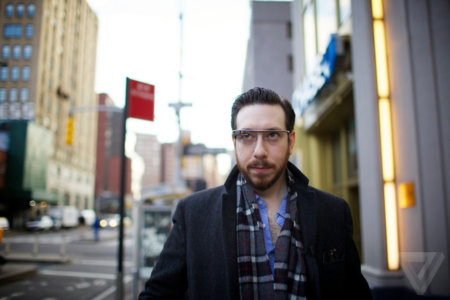 Joshua Topolsky wearing Google Glass