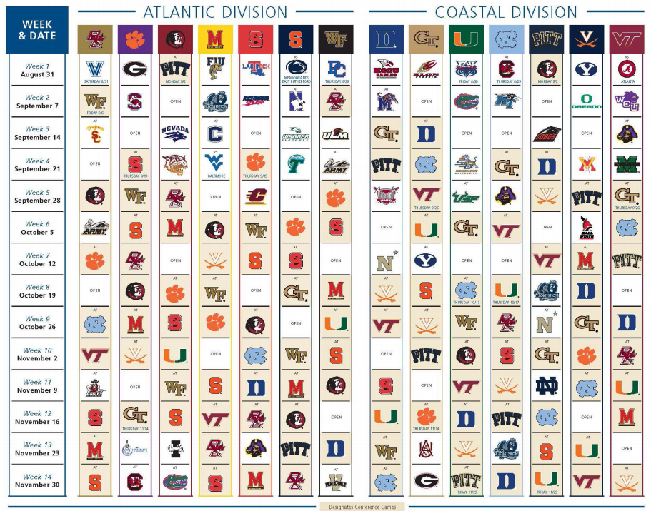 2013 acc football schedule released in full here new guys and all - Football conference south league table ...