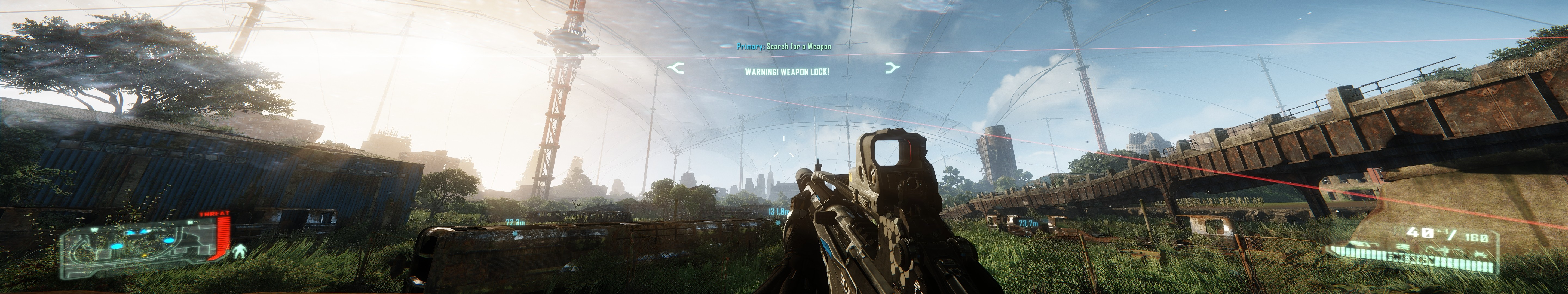Crysis 3 at 5760x1080 resolution, across 3 screens ...