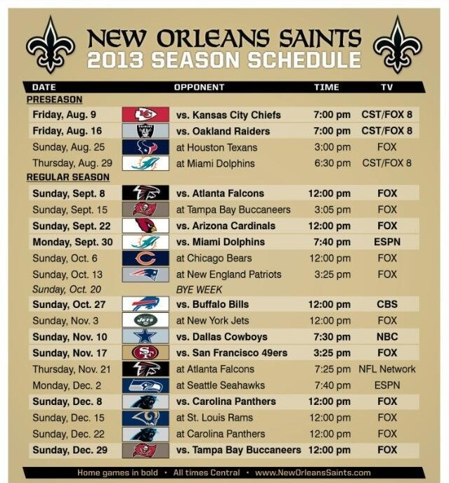 NFL Schedule 2013: Saints Schedule Released - Canal Street Chronicles