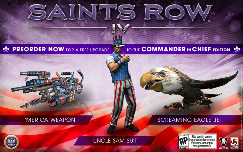 saints row 4 preorders get extremely patriotic commander