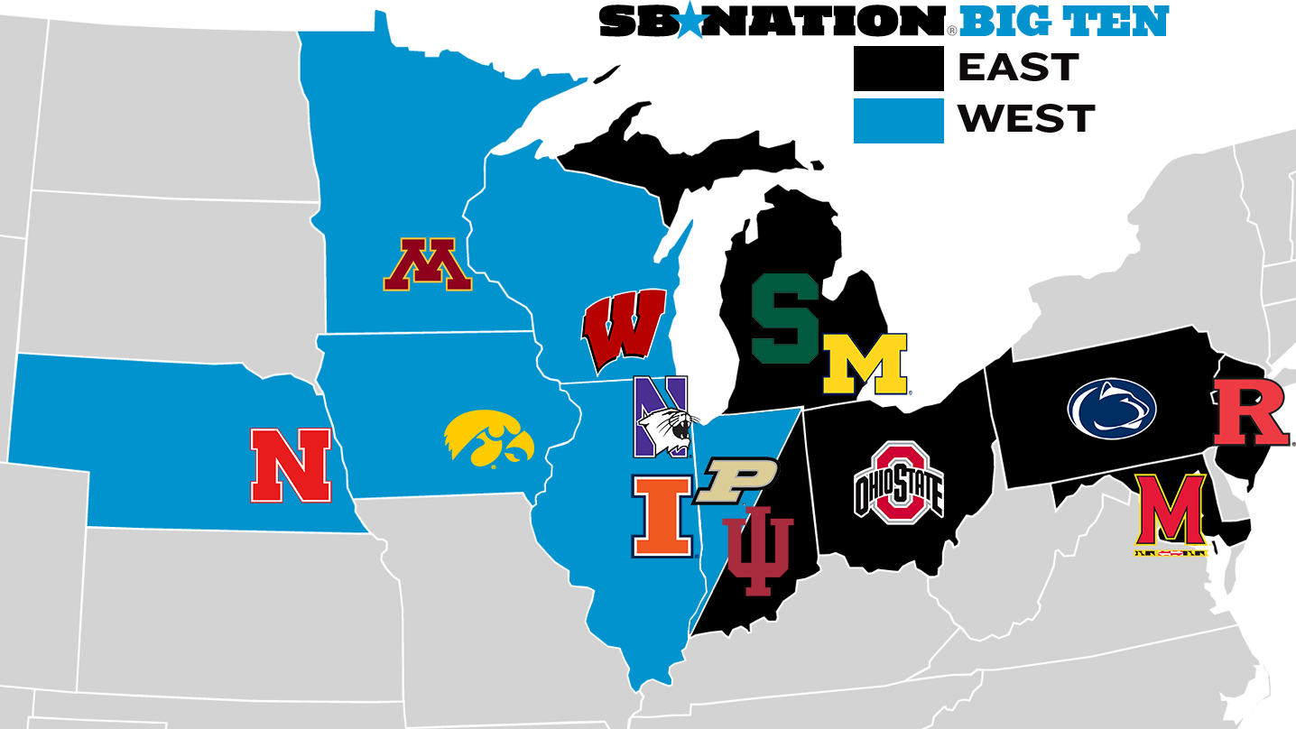 Big Ten Map showing East and West Divisions based on which state the school is in
