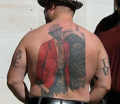 The Mt. Everest of Crimson Tide-themed body art.