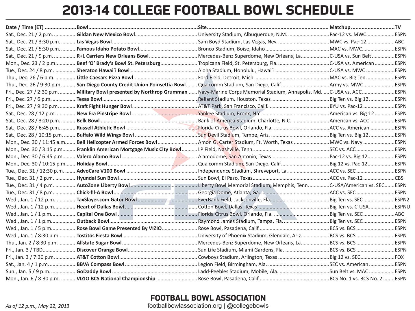 bcs bowls college football scedule