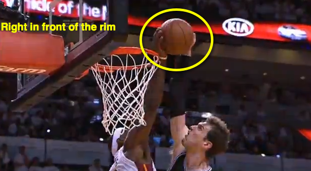 From there, LeBron, aided by Splitter going up with one hand, locates