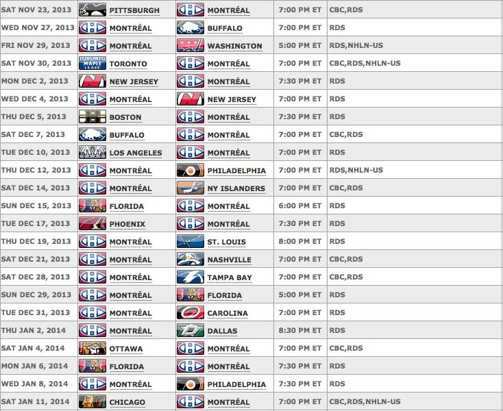 Montreal Canadiens 2013 Calendar | Calendar Template 2016