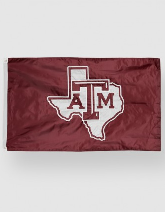 Texas A&M State of Texas Outline Flag