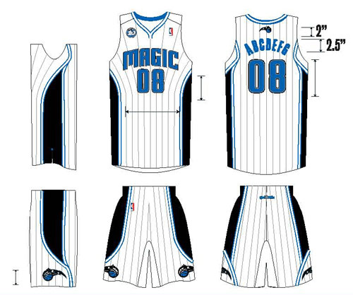 Art featuring the new white home uniforms with silver pinstripes of the Orlando Magic for the 2008-2009 NBA season, the team's 20th in the league.