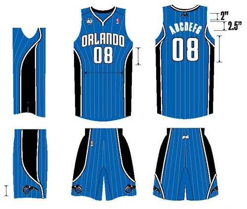 Art featuring the new blue road uniforms with silver pinstripes of the Orlando Magic for the 2008-2009 NBA season, the team's 20th in the league.