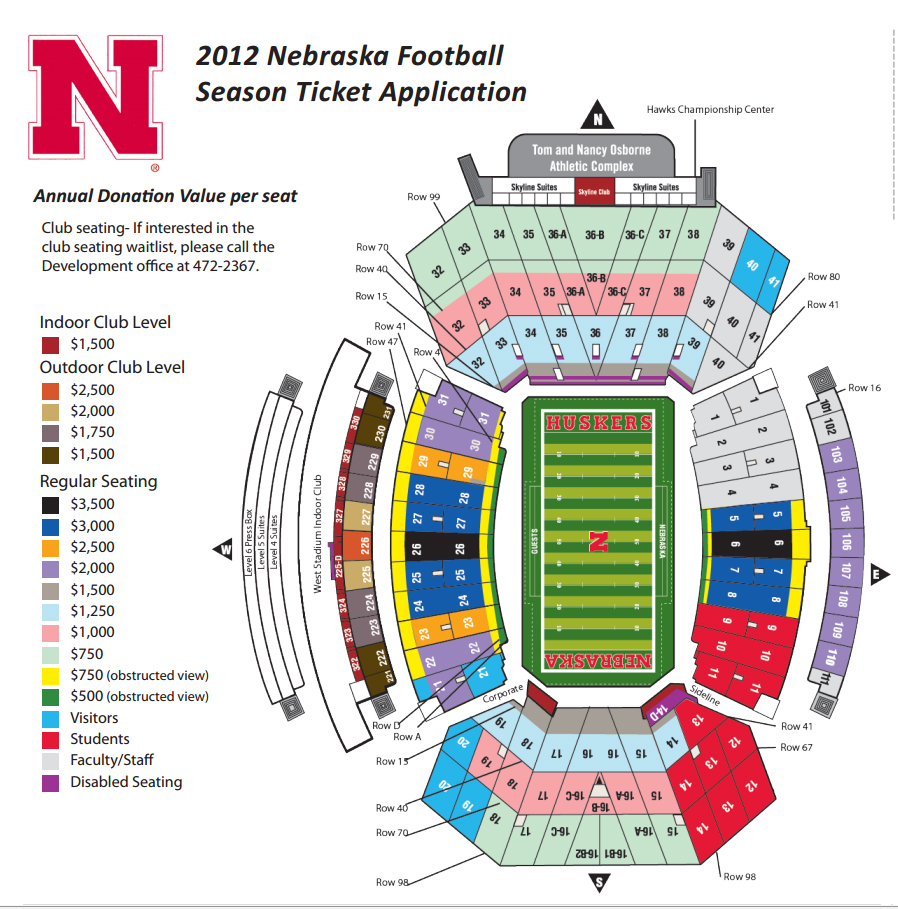 Nebraska football season ticket minimum donation levels collapse