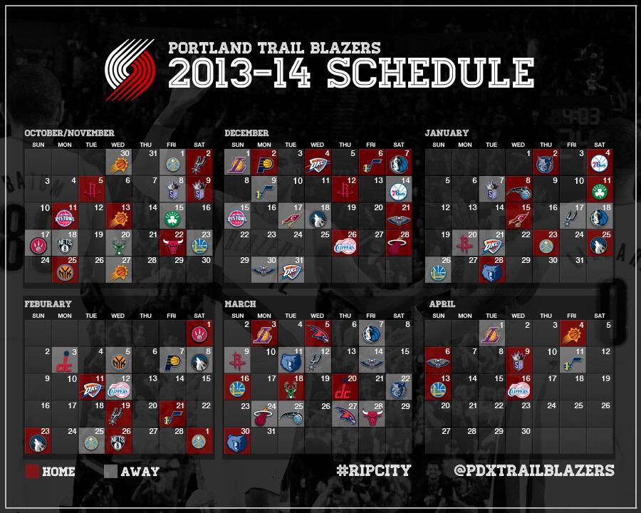 Portland Trail Blazers' 2013-14 NBA Schedule - Blazer's Edge