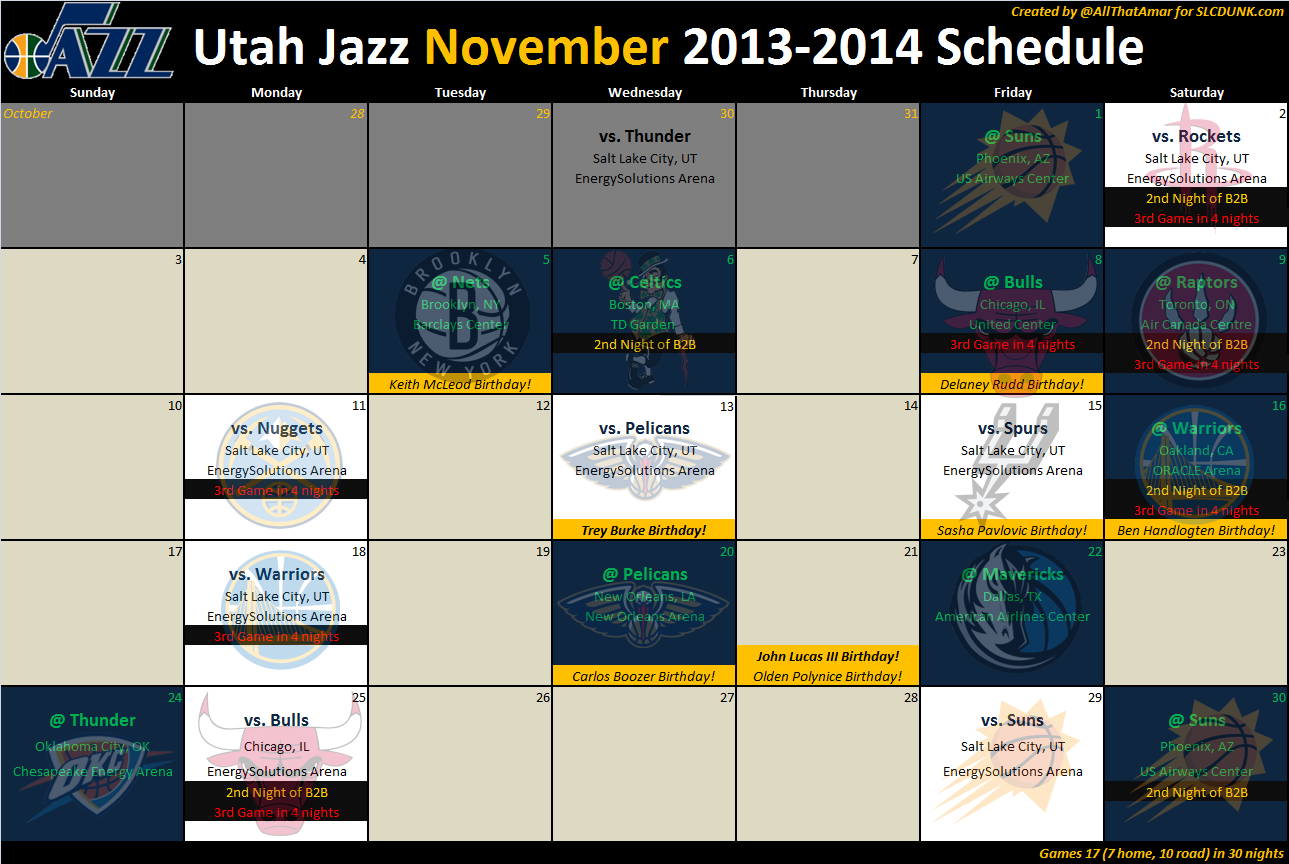 Jazz_2013_2014_schedule_ _02_nov  Nba Depth Charts