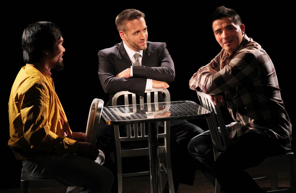 Pacquiao vs rios photo fighters sit down with max kellerman for hbo