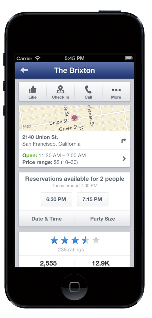 Facebook For IOS And Android Now Lets You Book Restaurant - Table reservation app