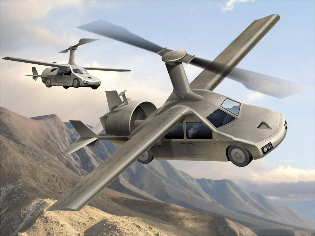 Early Transformer TX flying car rendering