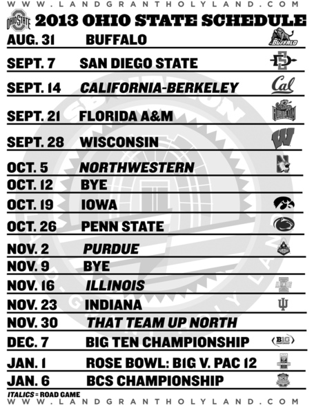 graphic regarding Penn State Football Schedule Printable identified as Printable Ohio Region soccer routine 2013 - Land-Grant