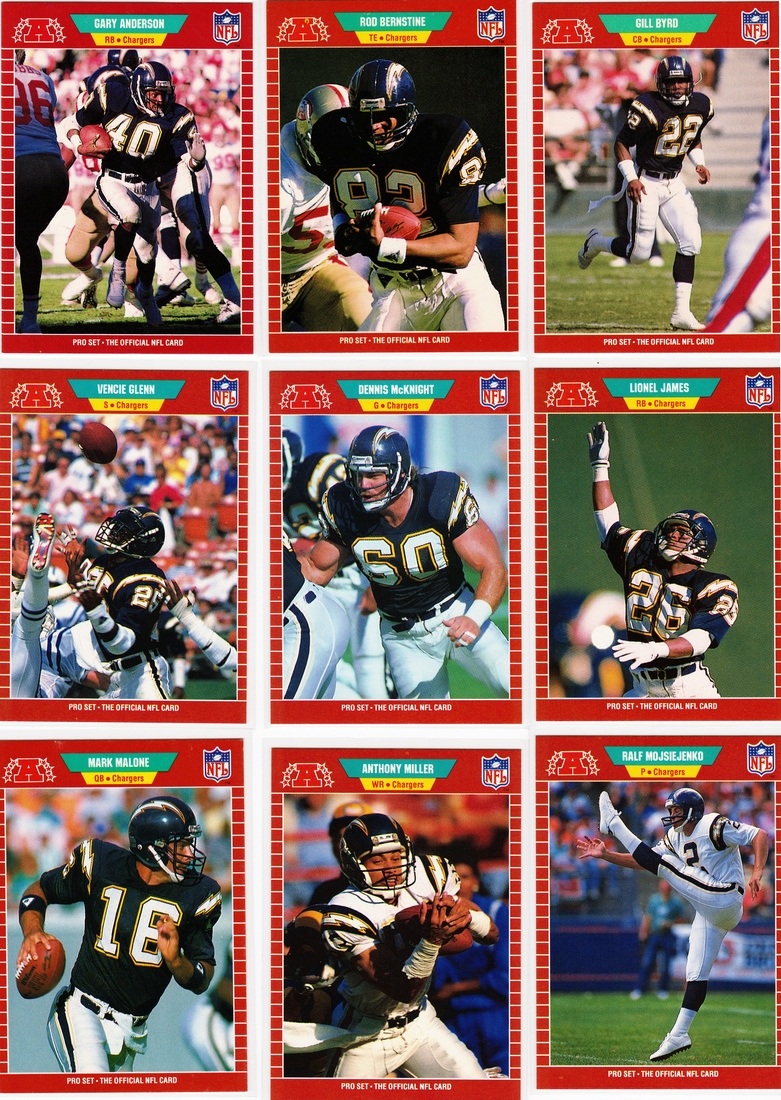 The 1989 Nfl Pro Set Football Cards Chargers Cards From A