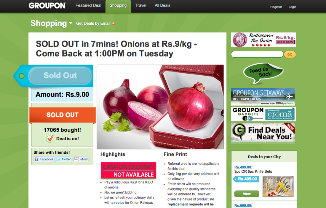 Groupon India onion sale