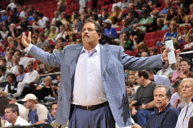Orlando Magic head coach Stan Van Gundy holds his arms wide while standing on the sideline during his team's 94-66 victory over CSKA Moscow in an NBA basketball preseason game on October 10th, 2008.