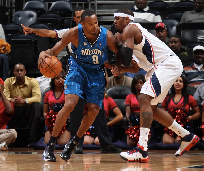 Orlando Magic forward Rashard Lewis posts up Atlanta Hawks forward Josh Smith during Orlando's 109-103 victory over the Hawks on October 20th, 2008.