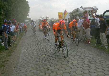 Tour de France Podium Cafe Iban Mayo on the Cobbles