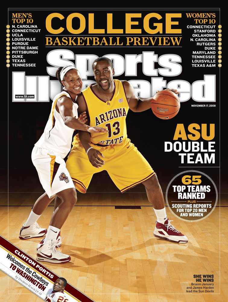Here it is james harden and briann january on the cover of sports