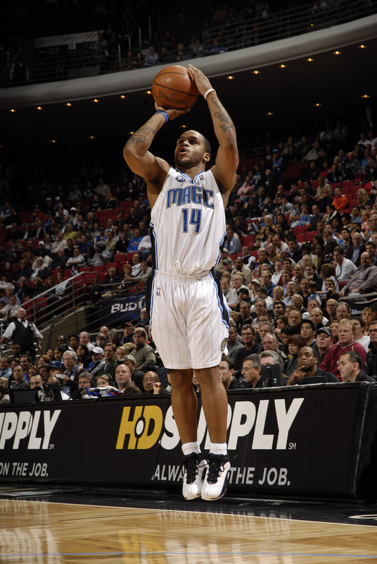 Jameer Nelson of the Orlando Magic takes a jump shot against the Toronto Raptors on November 18th, 2008. The Magic won the game, 103-90.