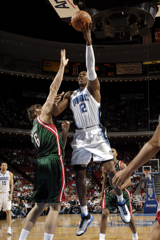 Orlando Magic center Dwight Howard shoots a left-handed hook shot against Andrew Bogut of the Milwaukee Bucks in their NBA basketball game on November 24th, 2008.