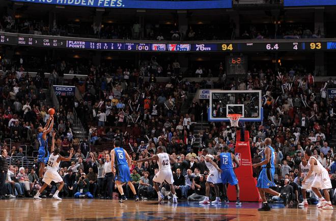 Orlando Magic forward Rashard Lewis makes the game-winning three-point jump shot over Philadelphia 76ers forward Thaddeus Young in their NBA basketball game on November 26th, 2008. The final score was Orlando 96, Philadelphia 94.