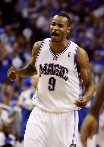Rashard Lewis of the Orlando Magic celebrates making a three-point field goal in the Magic's big 111-86 victory over the Detroit Pistons in Game Three of the 2008 Eastern Conference Semifinals.