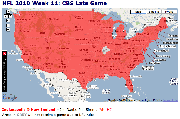 Week 11 NFL Broadcast Maps - Mile High Report