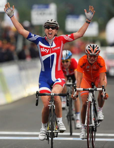Nicole Cooke wins the World Championship road race in Varese ahead of Marianne Vos and Judith Arndt. Photo: Bryn Lennon/Getty