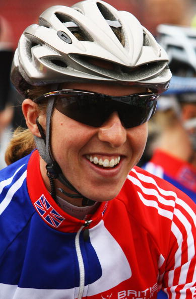 Nicole Cooke, looking smiley, 2008 World Championships, Varese. Photo: Bryn Lennon/Getty.