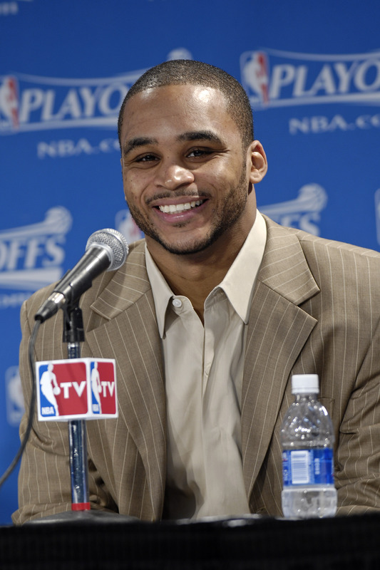 Orlando Magic guard Jameer Nelson talks to the media after a playoff game in this file photo