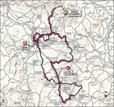 2011 Monte Paschi Strade Bianche, Course Map, Gravel Roads