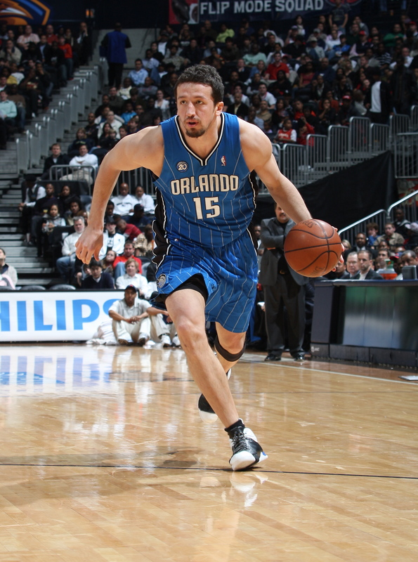 Hedo Turkoglu of the Orlando Magic dribbles the ball up the court against the Atlanta Hawks in their NBA basketball game in Philips Arena on January 7th, 2009